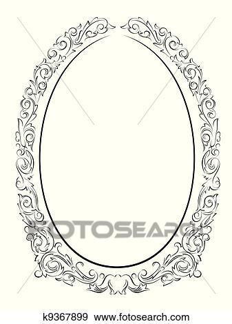 Clip Art - caligrafía, caligrafía, oval, barroco, marco, negro ...