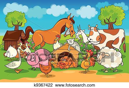 Cartone animato scena rurale con animali fattoria clipart