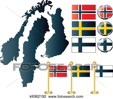 Maps Of Finland Sweden Norway Clipart K9362192 Fotosearch