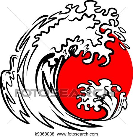 Clip Art Of Sea Wave And Red Sun K9368038