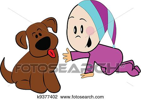 clipart of baby with puppy k9377402 search clip art illustration rh fotosearch com Baby Kitten Clip Art Baby Monkey Clip Art