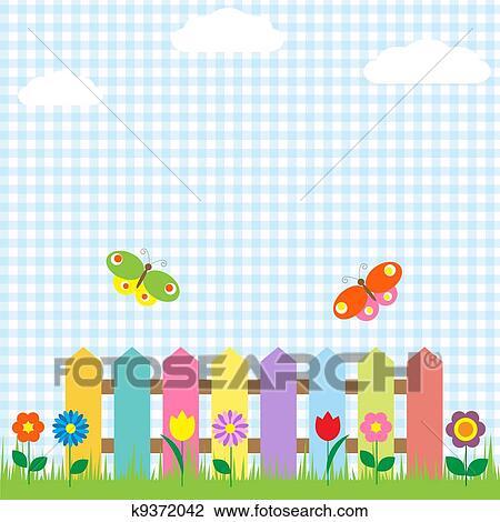 Clipart Buntes Zaun Mit Blumen Und Schmetterlinge K9372042