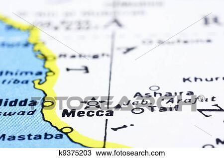 Close up of Mecca on map, Saudi Arabia Stock Image