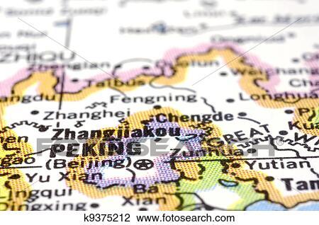 Stock Photo Of Close Up Of Peking Or Beijing On Map China K9375212