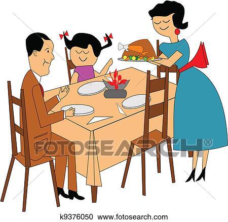 clipart of family dinner k9376050 search clip art illustration rh fotosearch com family thanksgiving dinner clipart family dinner clipart black and white