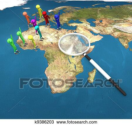 Drawing of 3d people on the world map with magnifying glass on a 3d people on the world map with magnifying glass on a white background isolated gumiabroncs Image collections