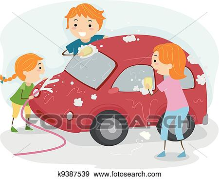 clip art of family car wash k9387539 search clipart illustration