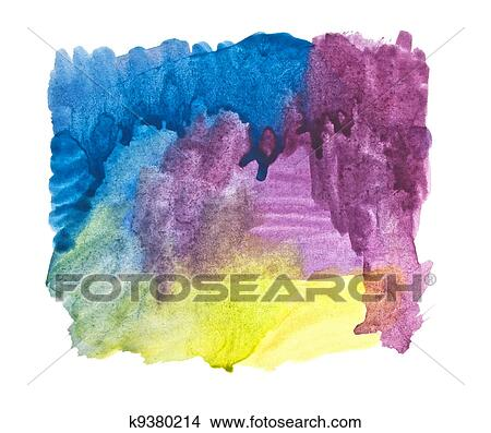 drawings of water color strokes painting on white background