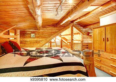 Capanna di tronchi camera letto colpo ceppo room albergo