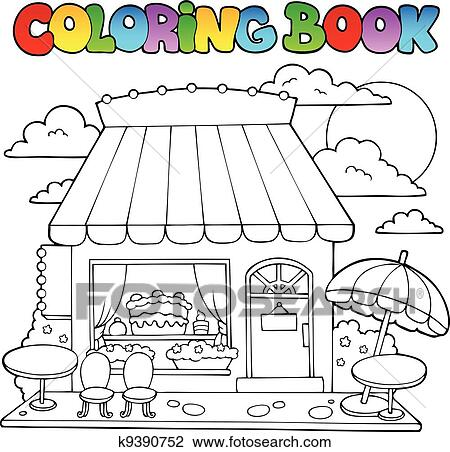 Clipart of Coloring book cartoon candy store k9390752 - Search Clip ...
