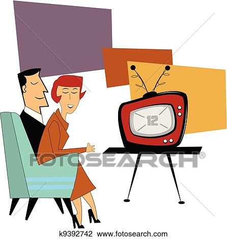 clipart of coupe watching tv k9392742 search clip art rh fotosearch com family watching tv clipart watching tv clipart