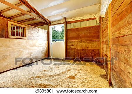 Horse Farm Empty Stable Interior With Wood Walls