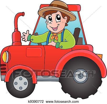 Clipart dessin anim paysan sur tracteur k9390772 - Tracteur rigolo ...