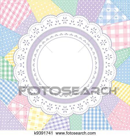 Lace Doily Patchwork Quilt Frame Clipart