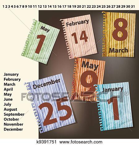 Calendario Internazionale.Vettore Fogli Di Calendario Con Internazionale Vacanze Date Clipart