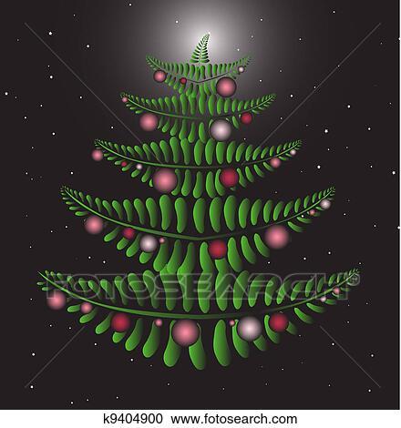 Fern Christmas Tree Pink Clipart K9404900 Fotosearch