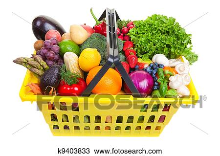 Drawing Of Fruit And Vegetables Basket K9403833 Search Clipart