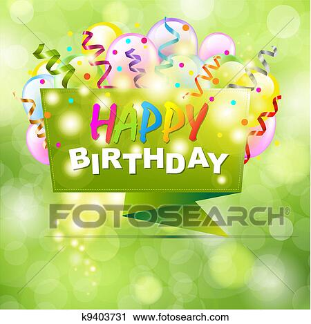 Clipart Of Happy Birthday Background With Origami K9403731 Search