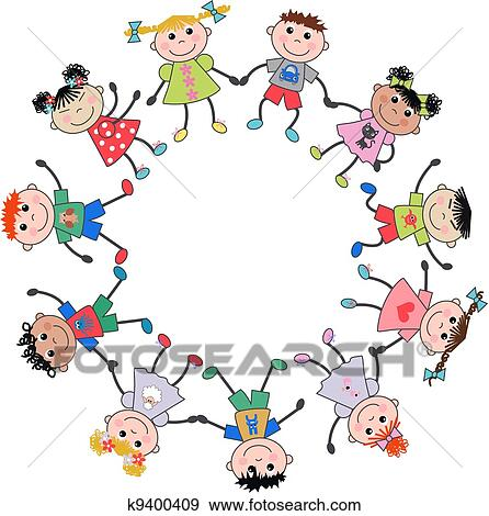 Kinderkreis clipart  Clipart - kinder, frame. k6414651 - Suche Clip Art, Illustration ...