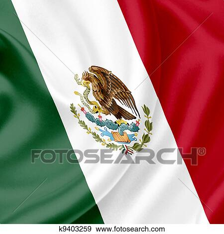 Colección De Ilustraciones México Bandera Ondeante K9403259