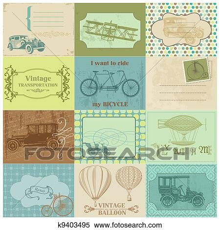 Clipart Of Scrapbook Paper Tags And Design Elements Vintage