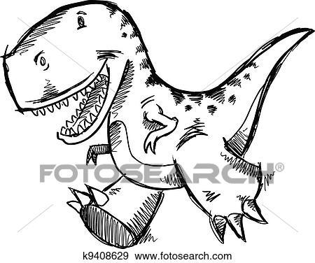 Clip Art Of Tyrannosaurus Rex Dinosaur Sketch K9408629