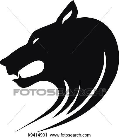 オオカミの頭部 クリップアート切り張りイラスト絵画集
