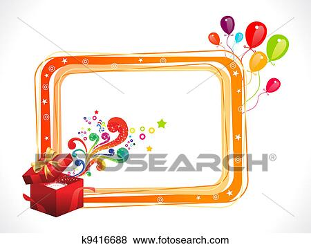 Stock Illustration of abstract colorful birthday frame with magic ...