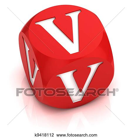 Clip Art Of Dice Font Letter V K9418112 Search Clipart