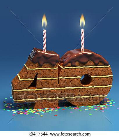 Chocolate Birthday Cake Surrounded By Confetti With Lit Candle For A Fortieth Or Anniversary Celebration