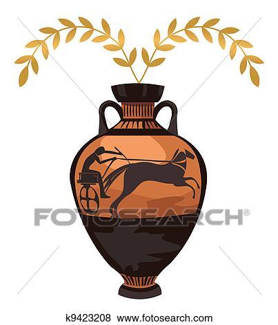 Clip Art Of Antique Greek Vase K9423208 Search Clipart