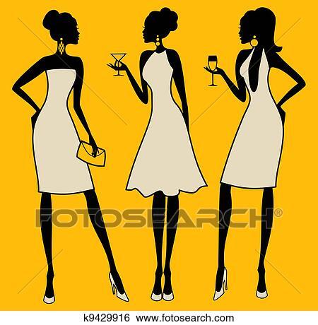 Clip Art Elegante Festa Donne K9429916 Cerca Clipart Poster