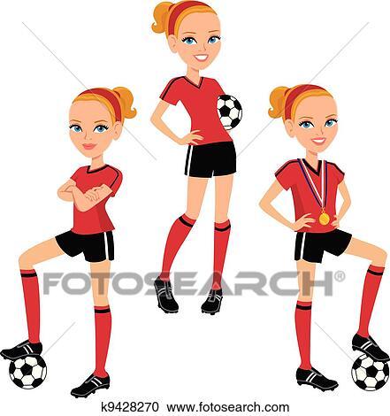 Karikatur Fussball Madchen 3 Posen Clipart K9428270