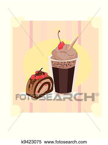 Clipart Kuchen Und Tasse Kaffee K9423075 Suche Clip Art