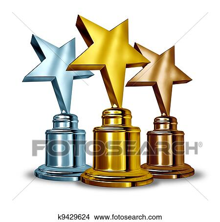 Gold Silver And Bronze Star Trophies Trophy Award As The Best Three Winners In A Competition Symbol Of Achievment Entertainment Recognition