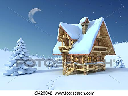 Christmas Scene Drawing.Winter Or Christmas Scene Drawing