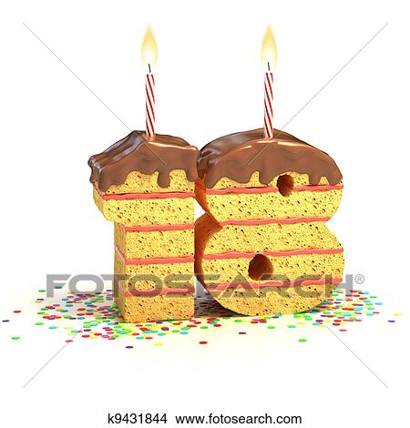 Cake Surrounded By Confetti With Lit Candle For A Eighteenth Birthday