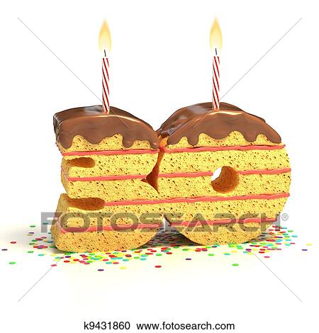 Chocolate Birthday Cake Surrounded By Confetti With Lit Candle For A Thirtieth Or Anniversary Celebration