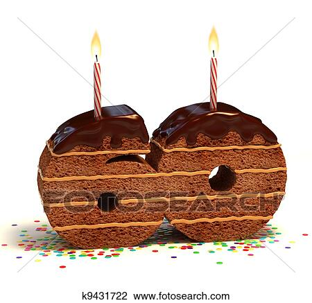 Chocolate Birthday Cake Surrounded By Confetti With Lit Candle For A Sixtieth Or Anniversary Celebration
