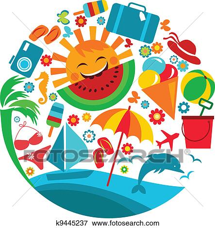 clip art of summer vacation template of summer icons k9445237 rh fotosearch com summer vacation clipart black and white summer vacation clip art free