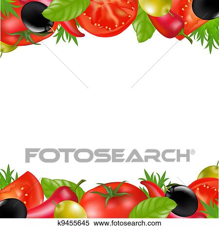 Border With Vegetables Clipart | k9455645 | Fotosearch