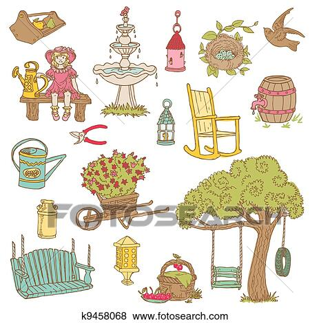 Clip Art Of Colorful Summer Garden Doodles For Scrapbook Design