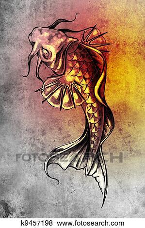 Banque D Illustrations Croquis De Tatouage Art Japonaise