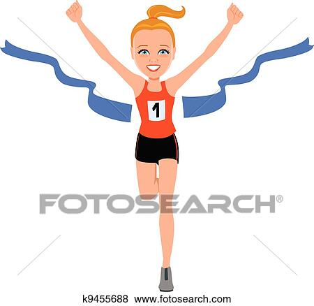 clip art of girl at the finishing line k9455688 - search clipart