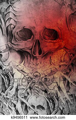 Stock Photography Of Tattoo Design With Skull On Vintage Paper