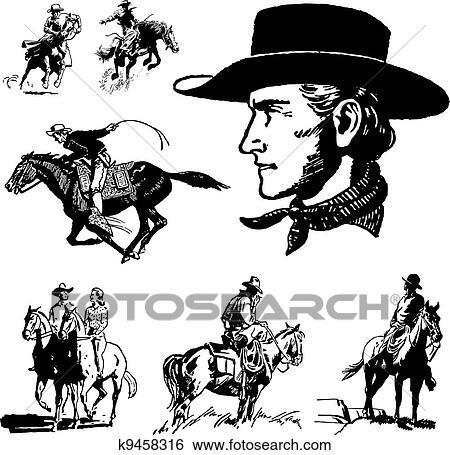 Clip Art Of Vector Vintage Cowboy Graphics K9458316