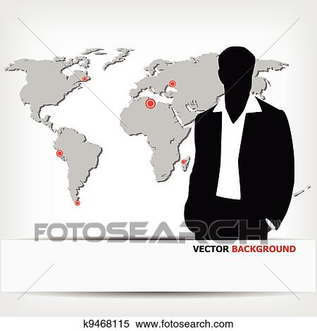 Clipart of businessman silhouette with world map k9468115 - Search ...