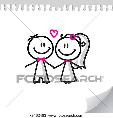 clipart of cartoon wedding couple k9462453 search clip art rh fotosearch com married couple clipart wedding couple clipart black and white