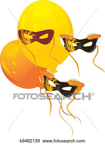 clip art of masquerade masks and balloons k9462139 search clipart