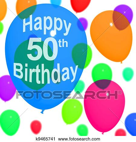 Clipart Of Multicolored Balloons For Celebrating A 50th Or Fiftieth